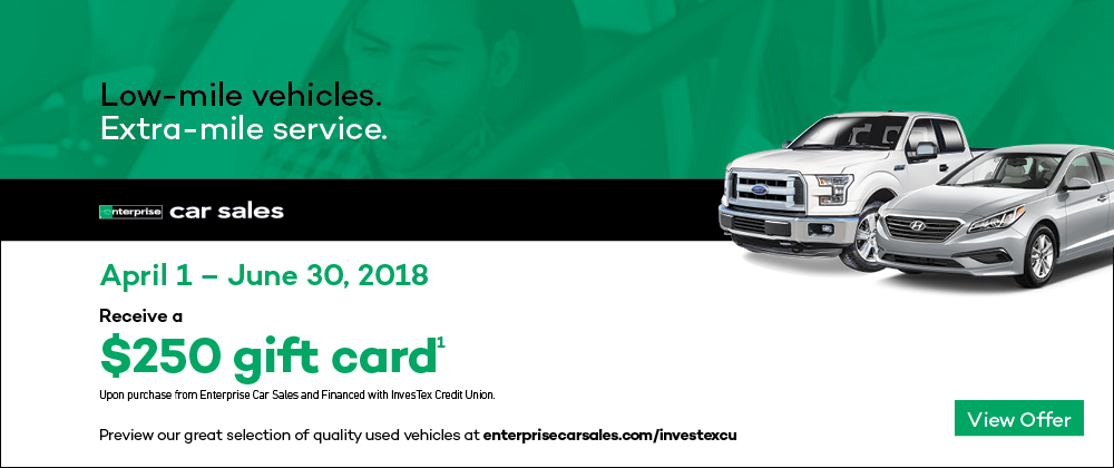 $250 Gift Card when you buy from Enterprise and Finance with InvesTex